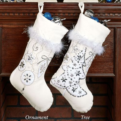 White Velvet Ornament Stocking
