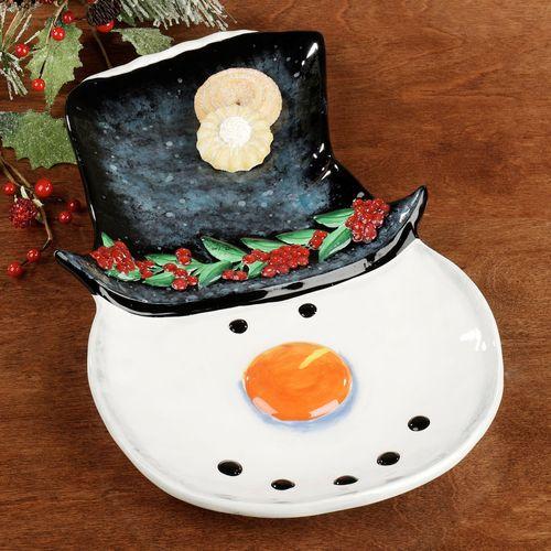 Top Hat Snowman Serving Platter Black/White
