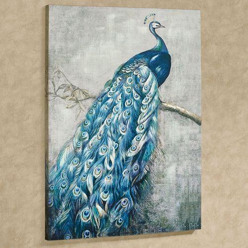 Panache Peacock Canvas Wall Art Indigo