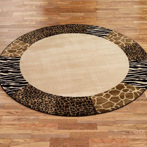 Safari Collage Round Rug Beige/Brown 78 Round