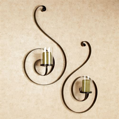 Isotta Swirl Wall Sconce Set Bronze Set of Two
