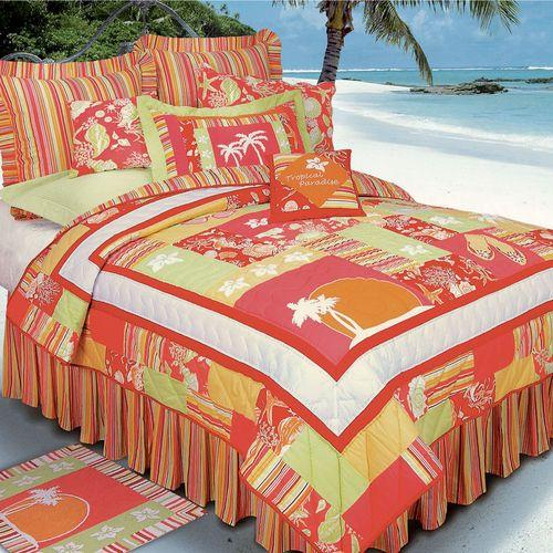 Tropical Paradise Quilt Coral