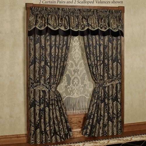 Bellevue Scalloped Valance Black 72 x 18