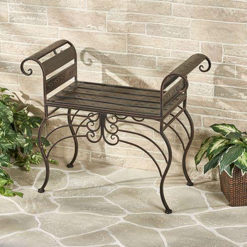 Brooks Garden Metal Bench Bronze