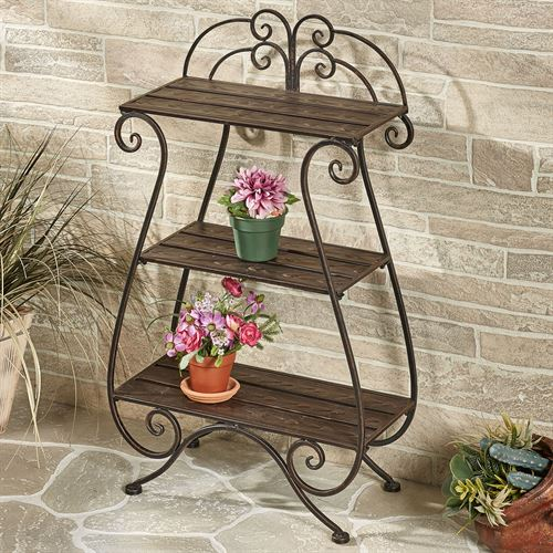 Brooks Garden Display Shelf Bronze Three Tier