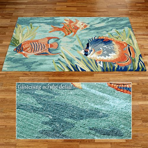 Tails of the Sea Rectangle Rug Multi Cool