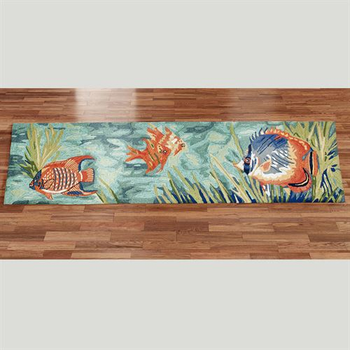 Tails Of The Sea Indoor Outdoor Fish Rug Runner