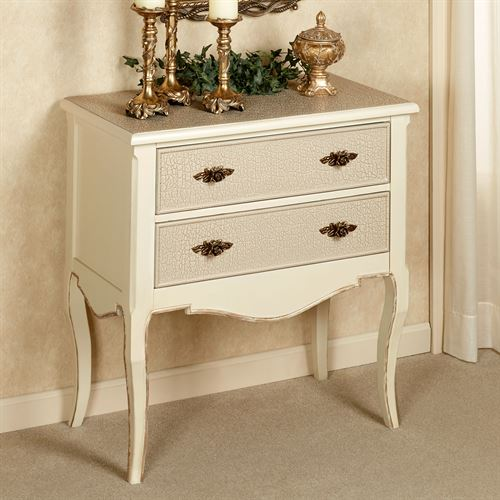 Royal Suite Two Drawer Accent Cabinet Ivory/Gold