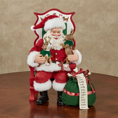 Sit Stay Pose Clothtique Santa Figurine Red