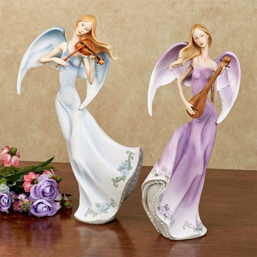 Melodious Angel Figurines Multi Pastel Set of Two