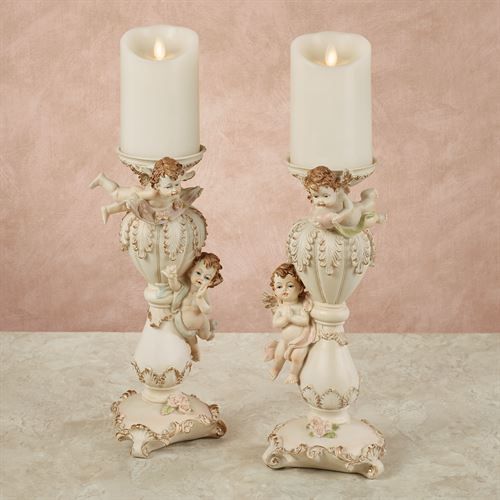 Playful Cherubs Candleholders Vanilla Set of Two