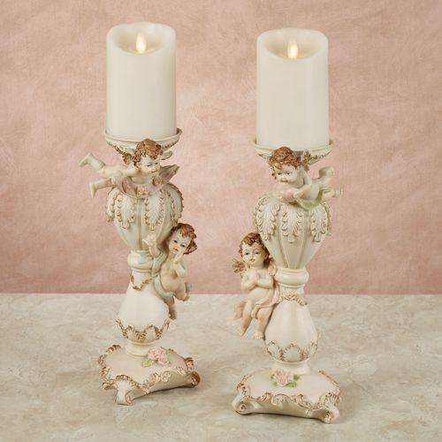 Playful Cherubs Candleholders Vanilla Set of Two