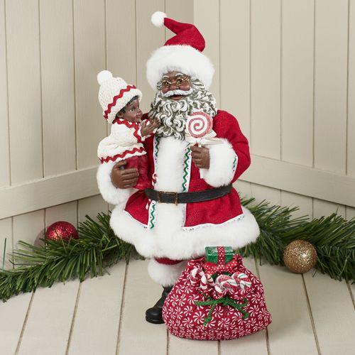 Lollipop Clothtique African American Santa Figurine Red