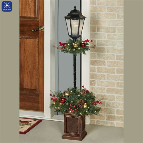 Holiday Lighted Lamp Post Topiary Red/Gold