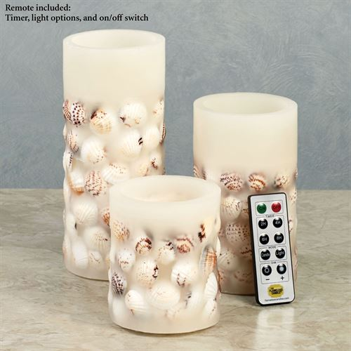 Treasures of the Sea LED Candles Ivory Set of Three