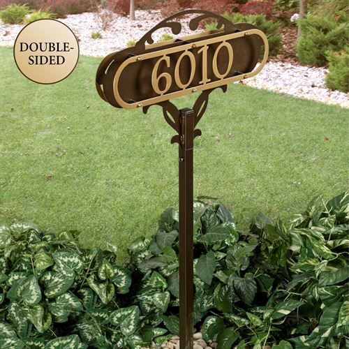 Paris Bronze House Number Address Sign Yard Stake By