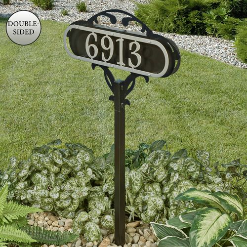 Paris House Number Yard Stake Silver/Black Yard