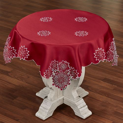 Snowflake Square Table Topper Dark Red 36 Square