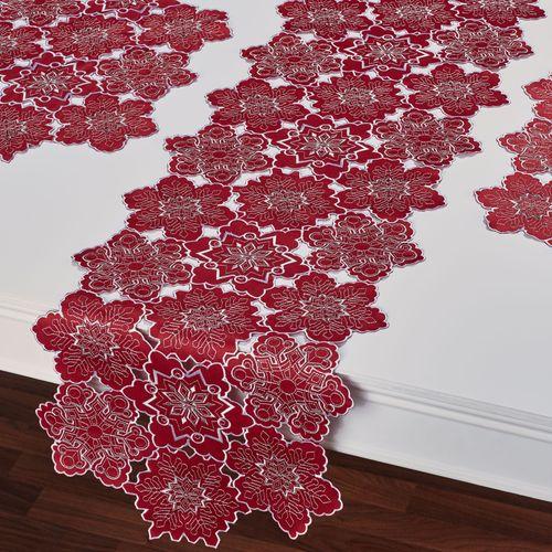 Snowflake Cutout Table Runner Dark Red