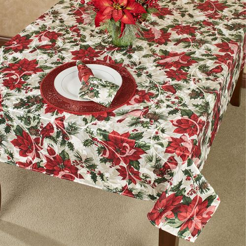 Poinsettia Cardinals Oblong Tablecloth Red