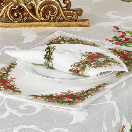 Ornaments and Ribbons Napkins Ivory Set of Four