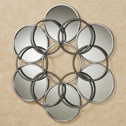 Elliptical Mirrored Wall Sculpture Aged Silver
