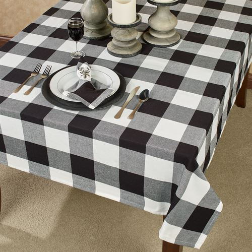 Rustic Buffalo Plaid Black And White Table Linens