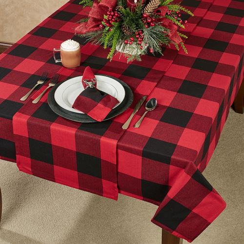 Rustic Buffalo Plaid Oblong Tablecloth Red/Black