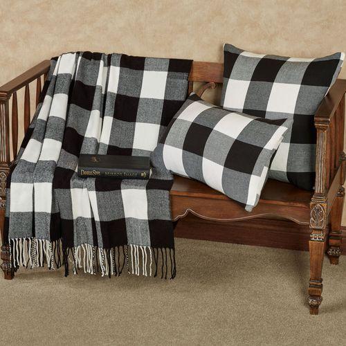 Rustic Buffalo Plaid Throw Blanket Black/White 50 x 60