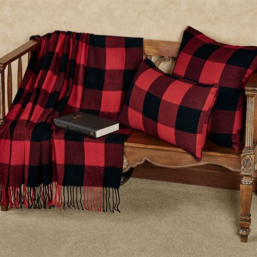 Rustic Buffalo Plaid Throw Blanket Red/Black 50 x 60