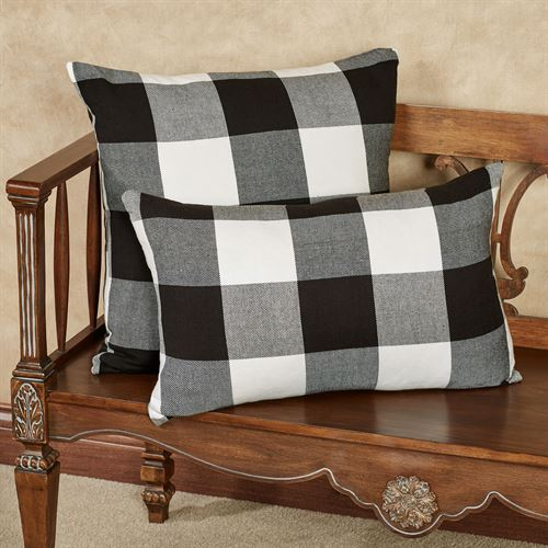 Rustic Buffalo Plaid Rectangle Pillow Black/White