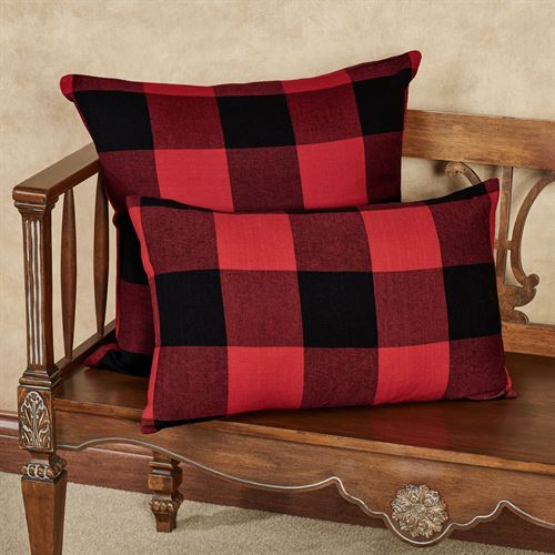Rustic Buffalo Plaid Rectangle Pillow Red/Black