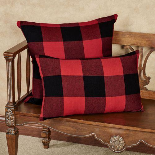Rustic Buffalo Plaid Rectangle Pillow Red/Black