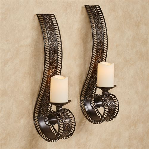 Charleston Scroll Wall Sconces Bronze Pair