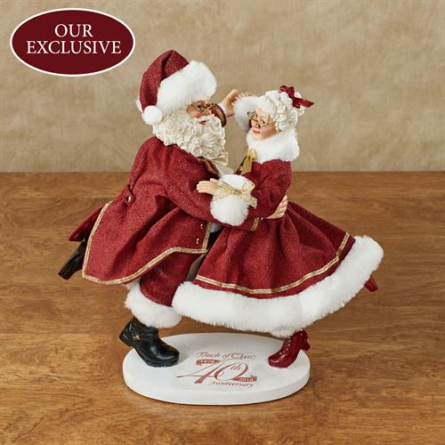 Dancing Through the Years Clothtique Santa Figurine Burgundy