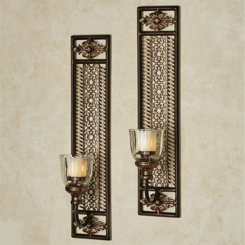 Charleston Hurricane Votive Wall Sconces Bronze Pair