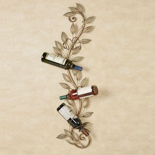 Leaf Reverie Wall Wine Bottle Rack Golden Bronze