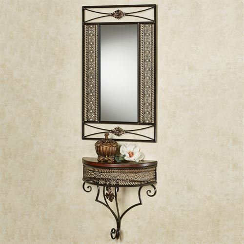 Charleston Wall Mirror and Shelf Bronze Set of Two