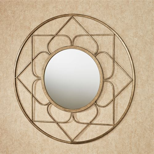Raleigh Round Wall Mirror Aged Gold