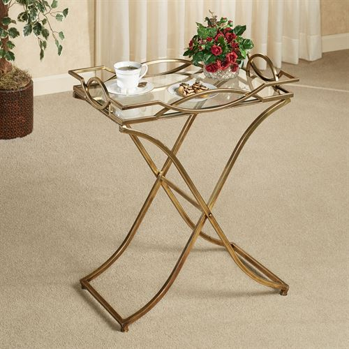 Henley Aged Gold Metal Serving Tray Table