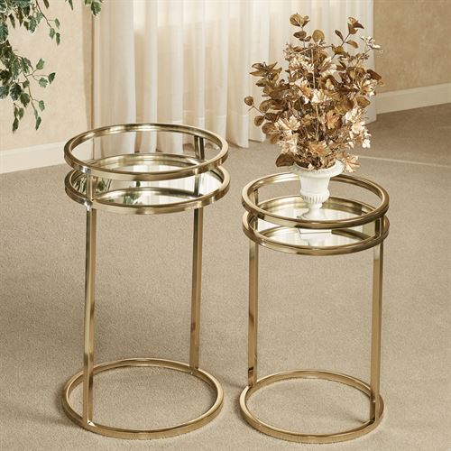 Landon Mirrored Nesting Tables Gold Set of Two