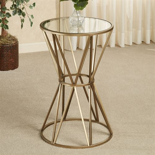 Presley Round Accent Table Gold