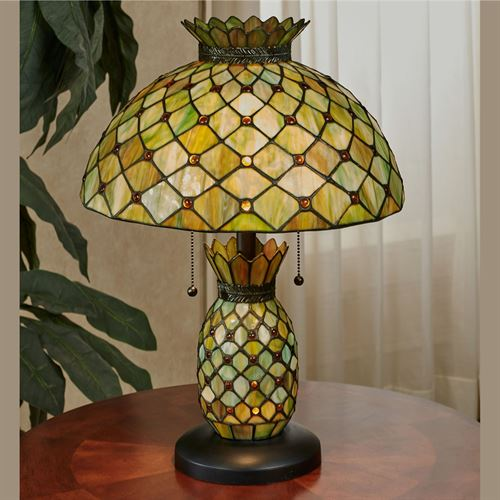Charmant Piala Pineapple Table Lamp Green