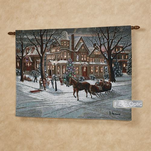 Christmas Sleigh Ride Lighted Wall Tapestry Multi Warm