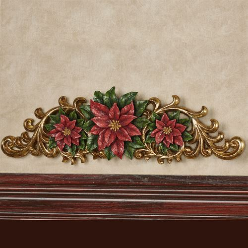 Red Poinsettia Holiday Door Topper Multi Warm