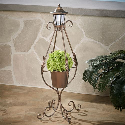 Planter with Solar Lantern Copper