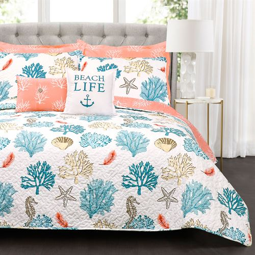 Coastal Reef Feather Print Quilt Bed Set Multi Bright