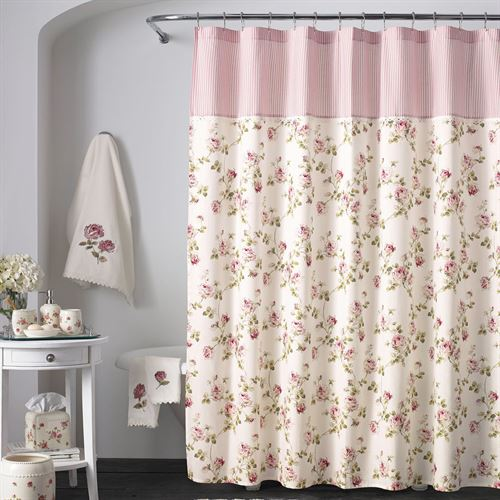 Rosalie Pink Floral Shower Curtain By Piper Amp Wright