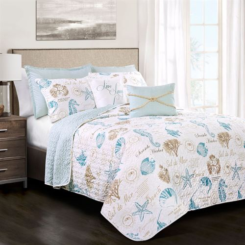 Harbor Life Quilt Bed Set Aqua