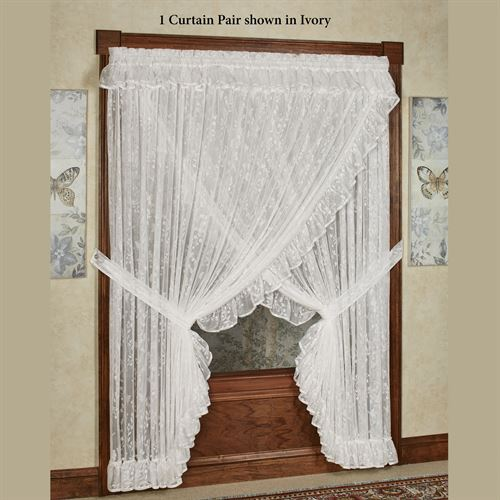 Butterfly Charm Lace Wide Priscilla Curtain Pair 220 x 84